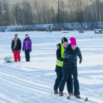 Två på samma par skidor var en kul tävlingsgren Foto: Pelle Nilsson Ljungandalen.info